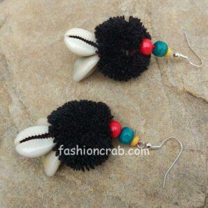 Handmade Black PomPom Earring