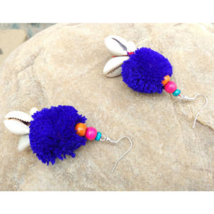 Handmade Blue PomPom Earring