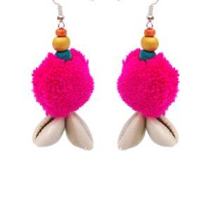 Handmade Pink PomPom Earring