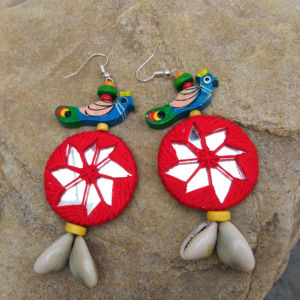 Handmade Red Peacock Mirror Earring