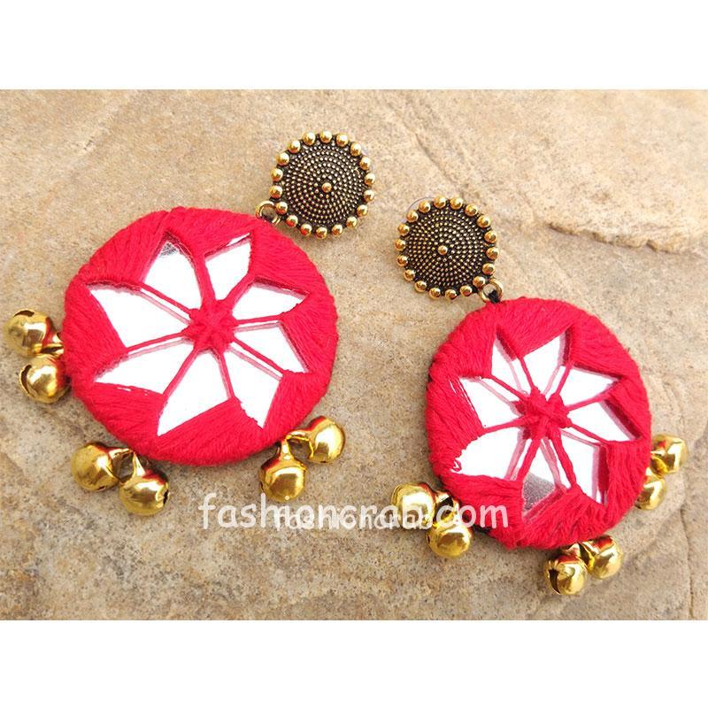 Handmade Red Thread Golden Mirror Earring
