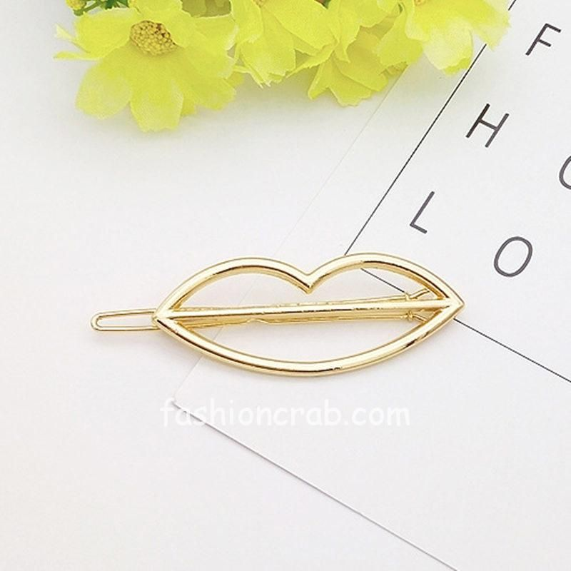 Lip Shaped Golden Color Hair Pin