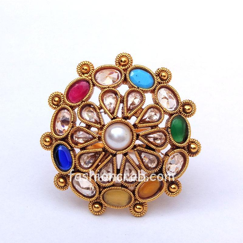 Multicolor Adjustable Polki Ring for Women