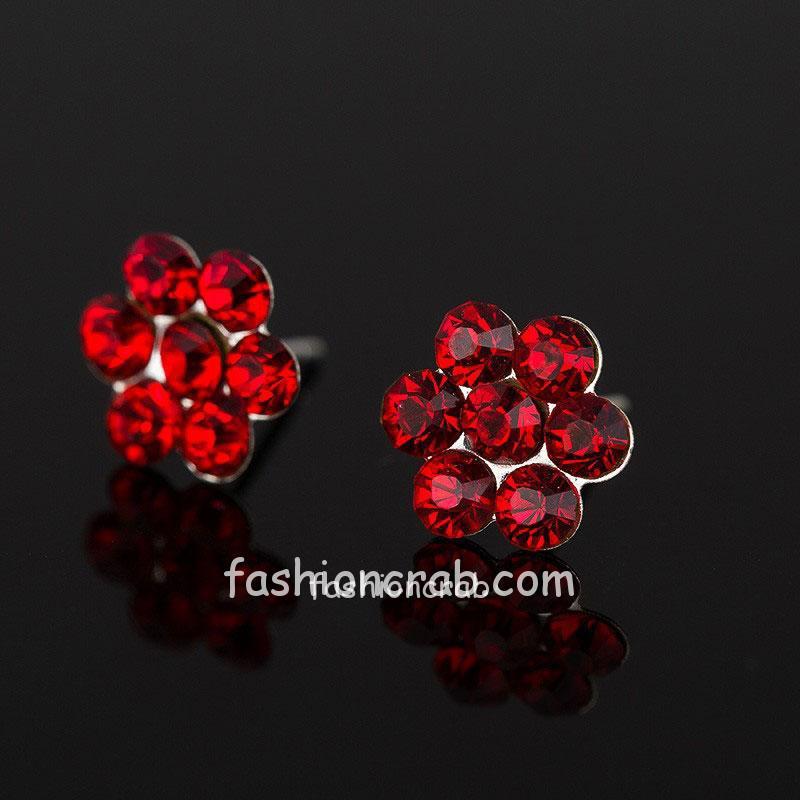 Red Crystal Flower Stud Earring for Girls