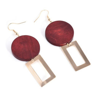 Red Wood Golden Drop Women Earring