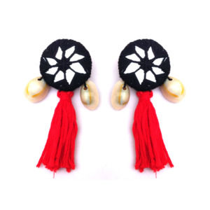 Red and Black Mirror Drop Earring for Women