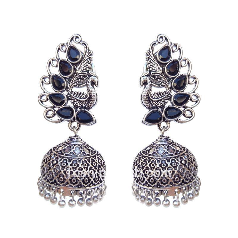 Black Pearl Peacock Jhumka Earring