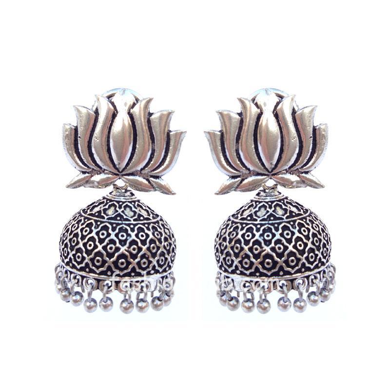 Oxidised Silver Lotus Jhumka Earring