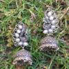 White Pearl Peacock Jhumka Earring