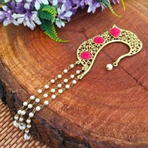 Golden Earcuff with Pink Flower