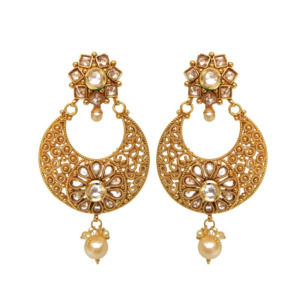 Golden Polki Women Earring with Pearl Drop