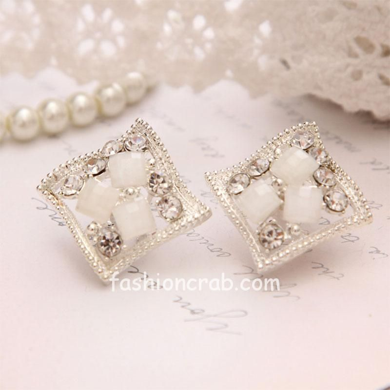 White Crystal Silver Color Stud Earring