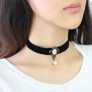 Black Choker Necklace with Pearl Drop