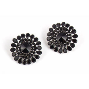 Black Crystal Stud Party Earring for Women