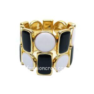 Black and White Adjustable Golden Bracelet