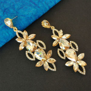 Champagne Color Crystal Drop Earring