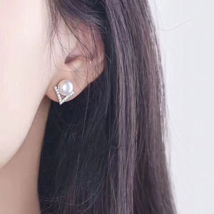 Crystal Pearl Stud Earring for Women