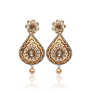 Flower Shaped Golden Drop Earring