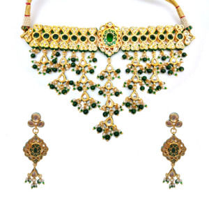 Green Choker Necklace Set for Women