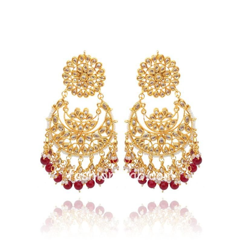 Kundan Chandbali Earring with Red and White Pearl