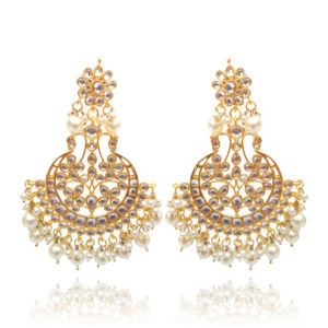 Kundan Women Chandbali Earring with White Pearl