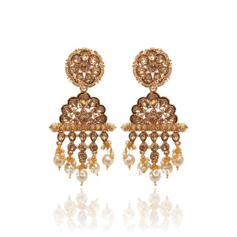 Polki Earring with Pearl Drop for Women