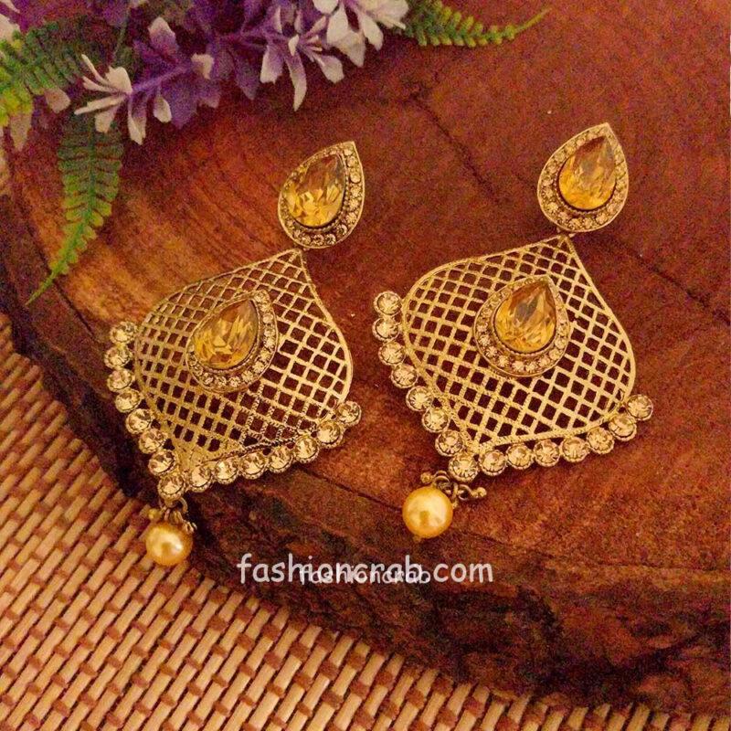 Reverse American Diamond Drop Earring