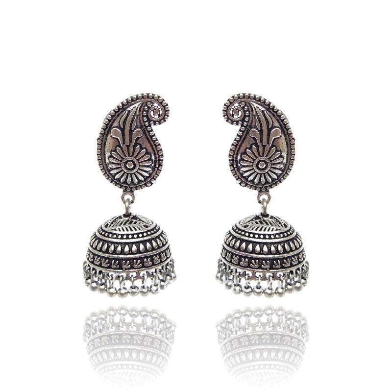 Silver Color Designer Jhumka Earring