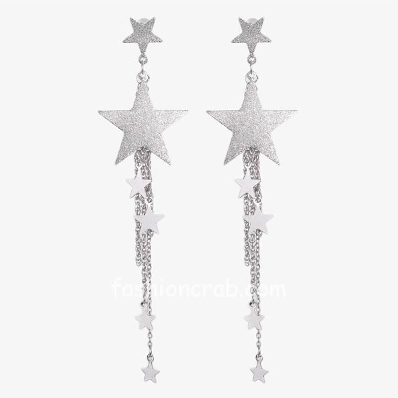 Silver Color Star Tassel Drop Earring