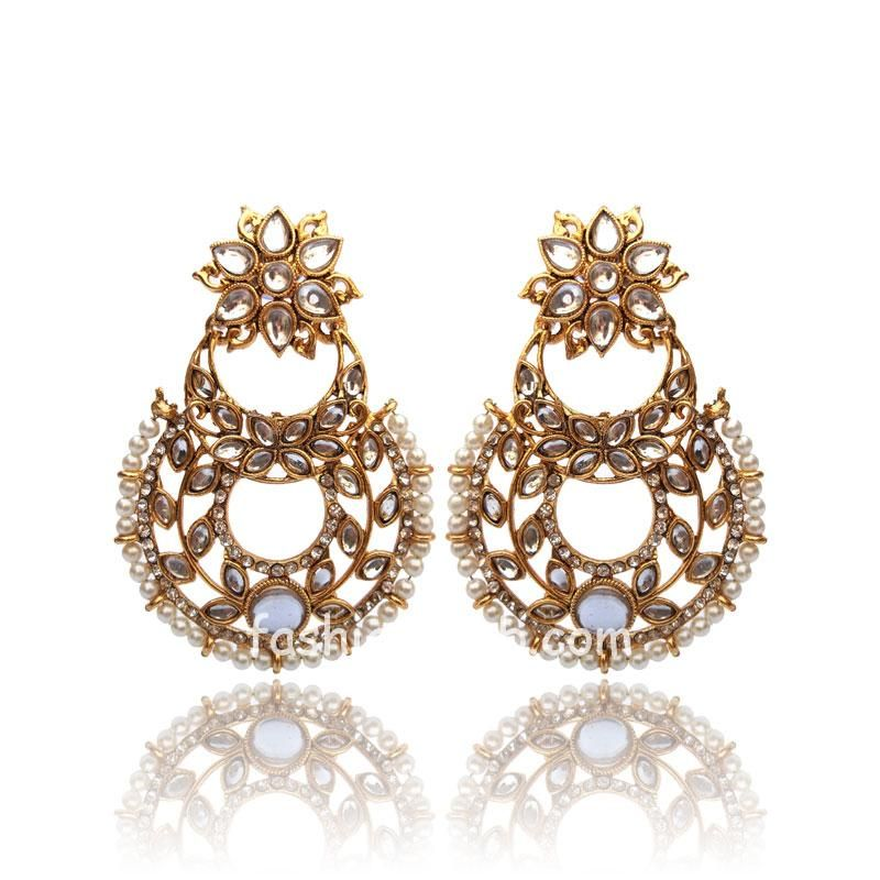 Trendy Kundan Pearl Drop Earring