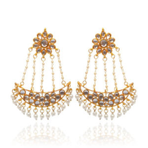 White Pearl Kundan Ladies Earring