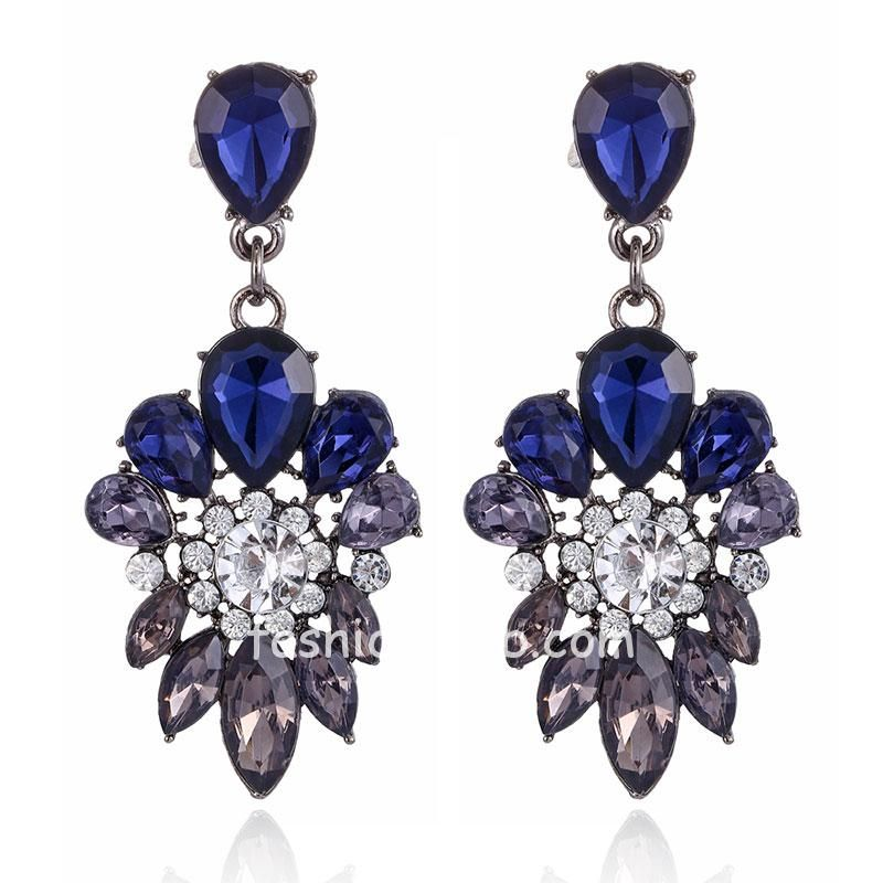 Fresh Trendy Crystal Alloy Blue Dangle Drop Party Charming Earring for Women