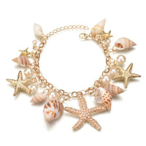 Gorgeous Pearl Like and Sea Shell Golden Chain Beach Bracelet for Girls