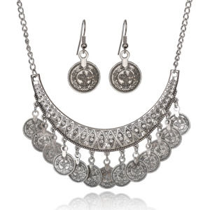 Silver Color Coins Bohemian Vintage Collar Statement Partywear Necklace with Earrings for Girls