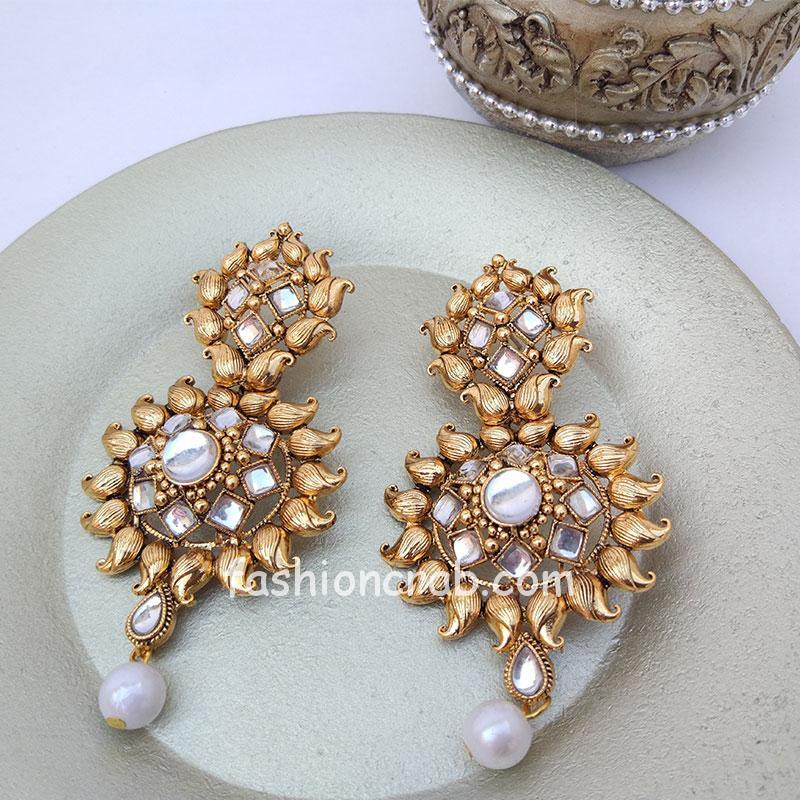 Golden Designer Women Wedding Earrings with Pearl Drop