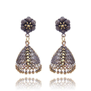 Handmade Traditional Dual Tone Gold-Silver Oxidised Jhumka Earring