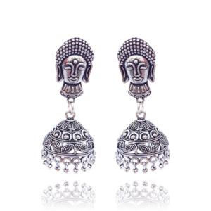 Handmade Traditional Oxidised Gautam Buddha Shape Jhumka Earring for Women