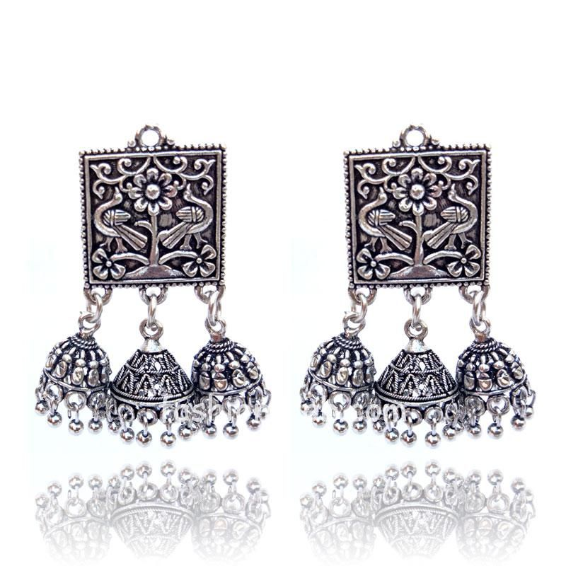 Oxidised German Silver Traditional Earring for Women