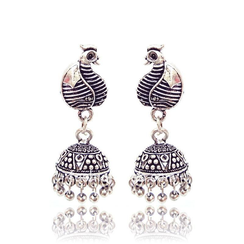 Small Peacock Traditional German Silver Indian Earring