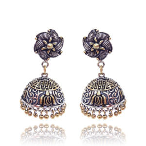 Traditional Dual Tone Flower Jhumka Women Earring