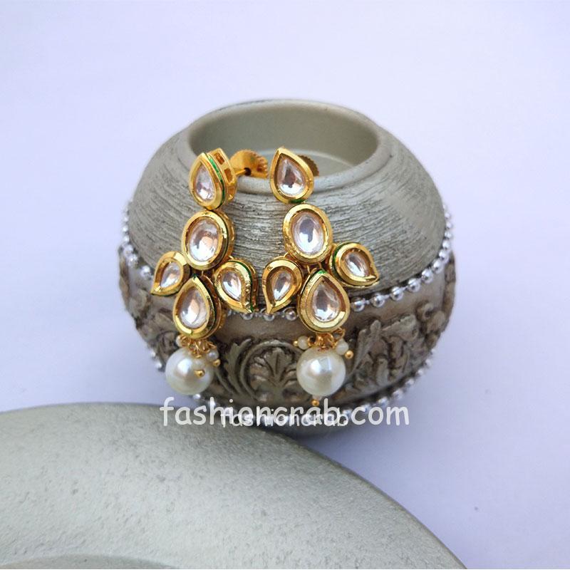 Beautiful Kundan Earrings with Pearl Drop