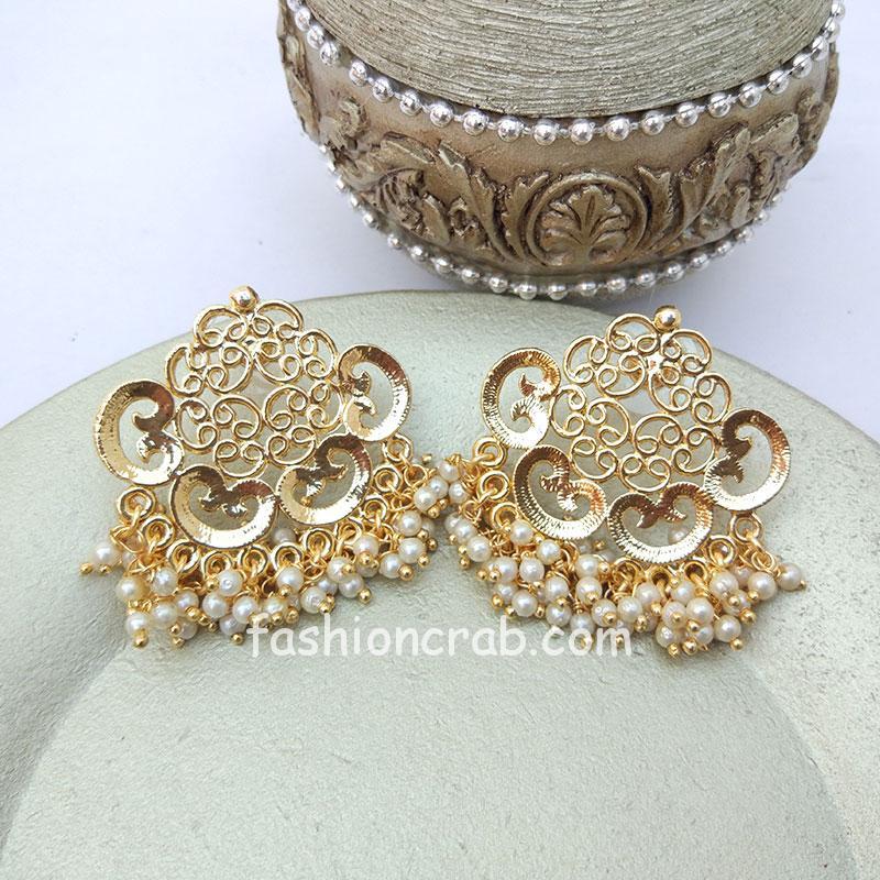 Big Golden Designer Stud Earring
