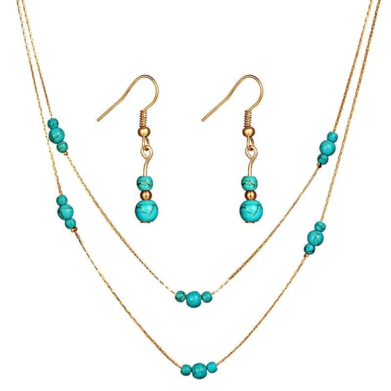 Blue Beads Bridal Jewelry Sets For Women