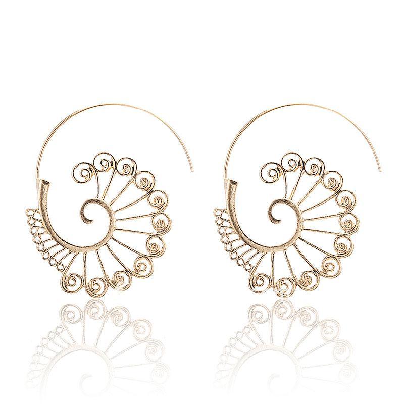 Bohemian Vintage Golden Round Shape Hoop Earrings