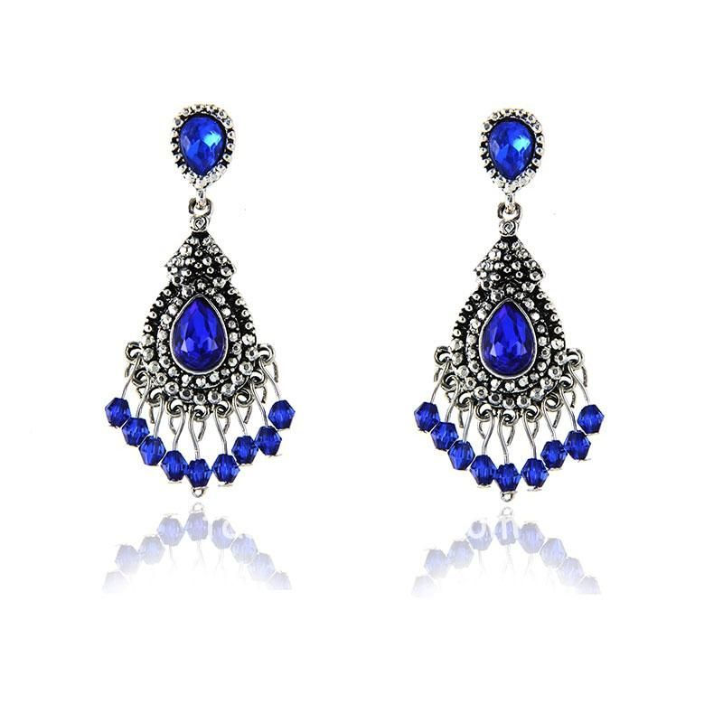Dark Blue Alloy Vintage Rhinestone Earring