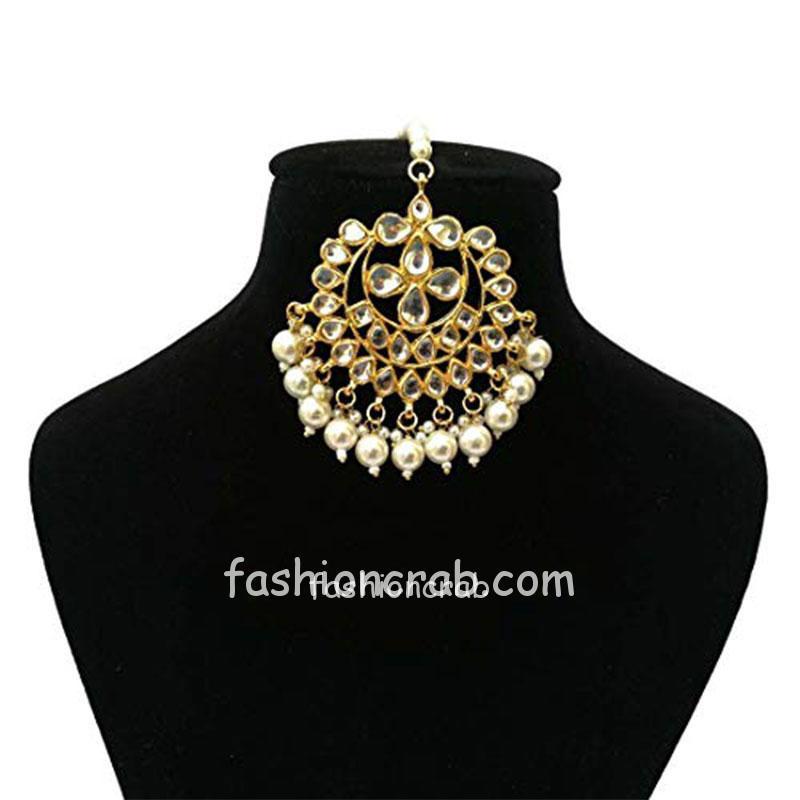 Designer Kundan Choker Necklace Set with Earrings and Maang Tikka