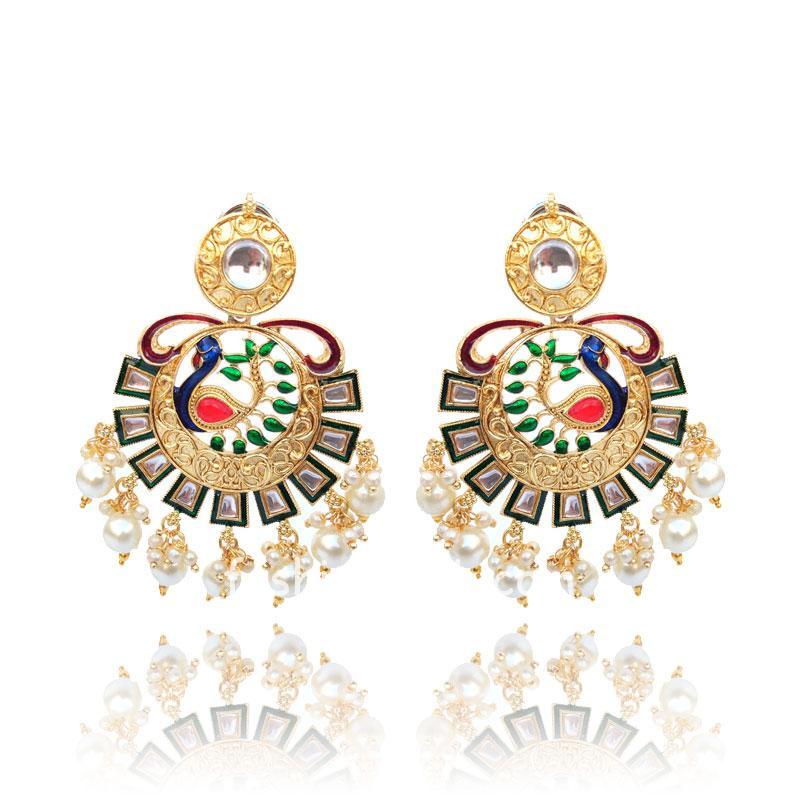 Gold-Toned Peacock Style Designer Earring