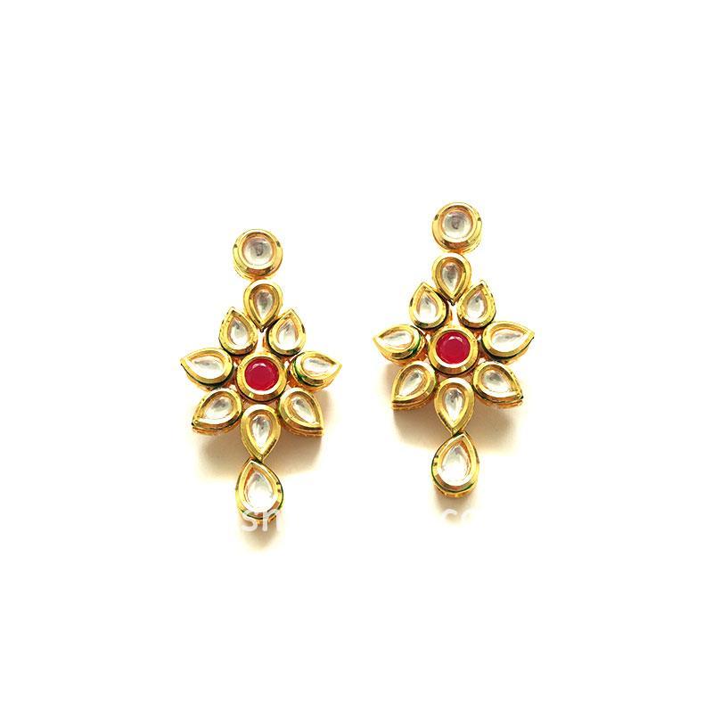Gold-Toned Traditional Kundan Drop Earrings for Women