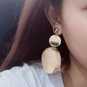 Golden Color Big Hoop Earrings Retro Long Drop Earring