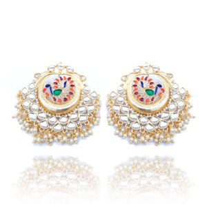 Golden Pearl Earrings with Peacock Style